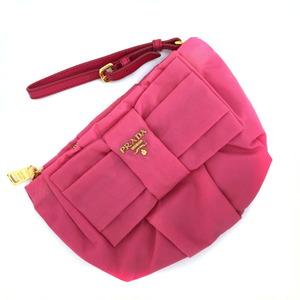 Prada Pouch Ribbon Wristlet 1N1422 Nylon Leather Pink Ladies