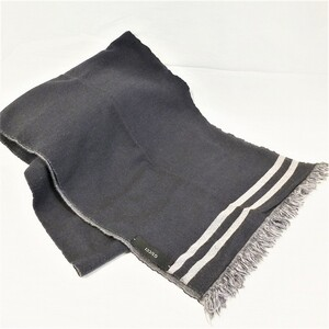 Gucci muffler GUCCI stall reversible gray men's border GG shawl