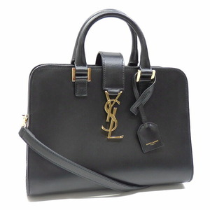 Saint Laurent Handbag Baby Kabas Ladies Black Calf Leather GNR568853 2WAY Shoulder