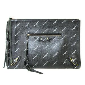 Balenciaga Classic Clutch Bag Black Second Logo Print Men's Women's Leather