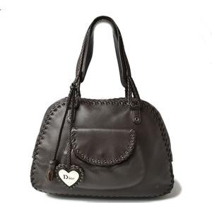 Christian Dior brand bag shoulder tote leather dark brown heart tassel