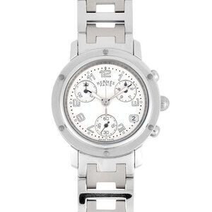 Hermes HERMES Clipper Chronograph Stainless Steel Ladies Watch Quartz White Dial CL1.310