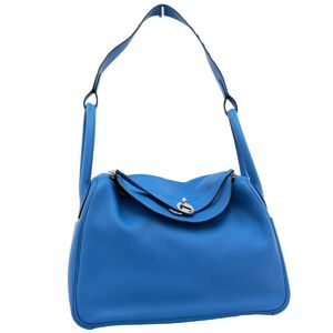 Hermes Lindy 30 2way Handbag Shoulder Vaux Swift Blue Hydra Ladies