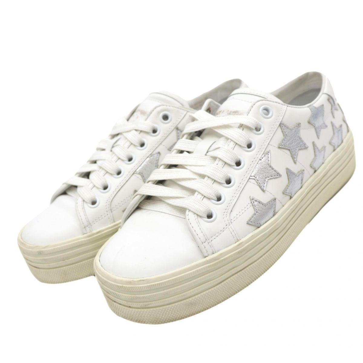 Saint Laurent Paris Star Leather Low Cut Sneakers Women's White 36 Pattern Platform
