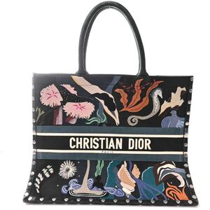 Christian Dior Book Tote Suede Sea Bag Navy Multicolor