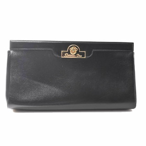 Christian Dior Leather Clutch Bag Black
