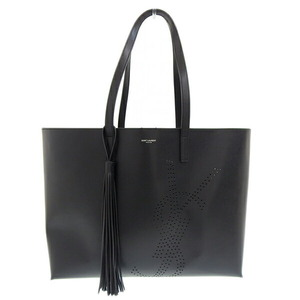 SAINT LAURENT Saint Laurent Paris Leather Tassel Punching Logo Tote Bag Black 509233