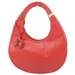 Christian Dior D metal fittings leather tote bag handbag ladies red vintage