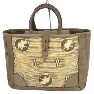 Hunting World HUNTING WORLD Handbag Nubuck Leather Total Pattern Logo Khaki Ladies