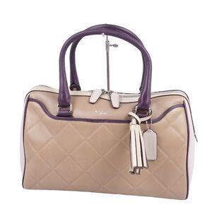 Coach COACH Mini Boston Bag Handbag Tassel Beige Calf Leather Women's Purple