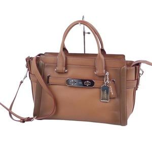 Coach COACH 2way Handbag Shoulder Bag Body Leather Brown Ladies