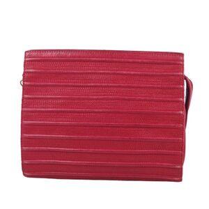 Loewe LOEWE Stitch Clutch Bag Second Lamb Leather Ladies Red Vintage