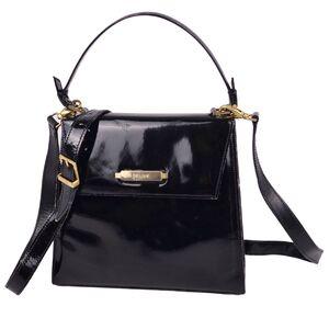Celine CELINE 2way Mini Handbag Shoulder Bag Patent Leather Ladies Enamel Black Vintage