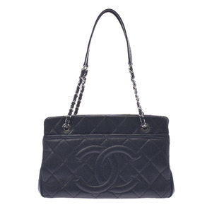 CHANEL Matrasse Chain Tote Black Silver Hardware Women's Soft Caviar Skin Bag