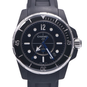 CHANEL J12 Marine 42mm H2558 Men's Black Ceramic Rubber Watch Self-winding Dial