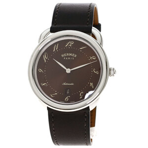 Hermes AR7.710 Arseau Watch Stainless Steel Leather Men