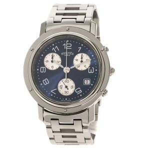Hermes CL1.910 Clipper Chronograph Watch Stainless Steel Men