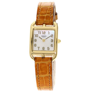 Hermes CC1.185 Cape Cod Watch K18 Yellow Gold Leather Ladies