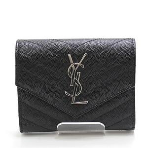 SAINT LAURENT tri-fold wallet 403943 black silver metal fittings