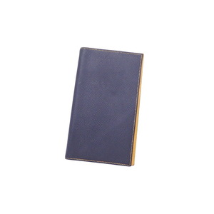 Hermes HERMES notebook cover navy yellow leather agenda