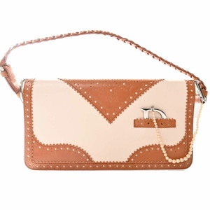 Christian Dior Leather Punching Clutch Bag Fake Pearl Charm White Brown