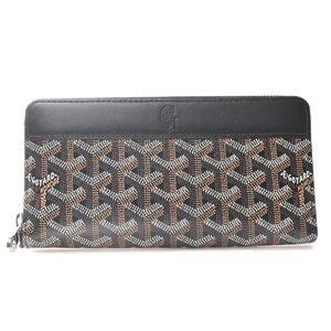 Goyard GOYARD Round Zipper Wallet Bi-Fold Black Brown PVC