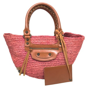 Balenciaga Raffia Basket Bag Handbag Tote Pink Brown 236741