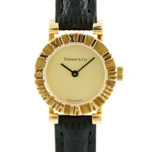 TIFFANY & Co. Tiffany Watch Atlas S0630 Classical Gold Ladies K18 Yellow Leather