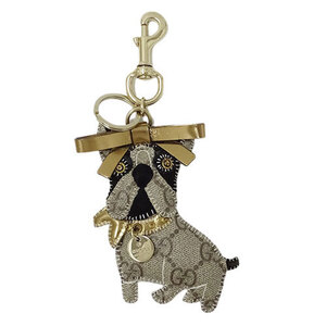 Gucci GUCCI Guccioli Leroy GG Plus Keychain Charm French Bulldog Brown Dog