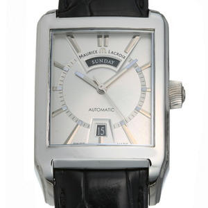 Maurice Lacroix Pontos Rectangular Day-Date Men's Watch PT6227-SS001-13E Stainless Steel Silver Dial