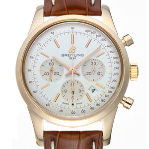 Breitling Transocean Chronograph Men's Watch R015G38WBA RB0152 K18 Pink Gold Silver Dial
