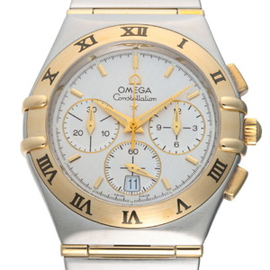 Omega Constellation Chronograph Men's Watch 1242.30.00 Stainless Steel Silver Dial