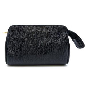 Chanel Coco Mark Ladies Pouch Caviar Skin Black