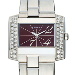 Seiko Credor Note J Side Diamond Ladies Watch GSTE919 1E70-0BL0 Stainless Steel Red Arabian Dial