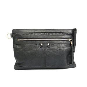 BALENCIAGA Classic Clip M Clutch Bag Calfskin GRIS FOSSILE 273022