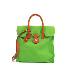 Ralph Lauren Ricky Hand bag Canvas/Leather Green/Brown