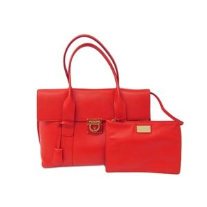 Ferragamo SOOKIE LOCK STORY ENAMELED Hand bag Red GG-21D813