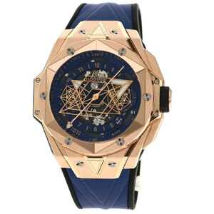 Hublot 418.O .5108.R .M M20 Big Bang Unico Sun Blue 2 World Limited 100 Watches K18 Pink Gold Rubber Mens