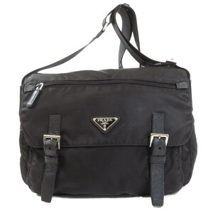 Prada Logo Plate Shoulder Bag Nylon Ladies