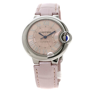 Cartier WSBB0002 Baron Blue Watch Stainless Steel Leather Ladies