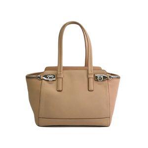 Ferragamo Hand bag Gancini Leather Beige DY-21 4402 DY-21 D698