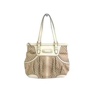 CELINE Hand bag Macadam Canvas/Leather Beige/Ivory