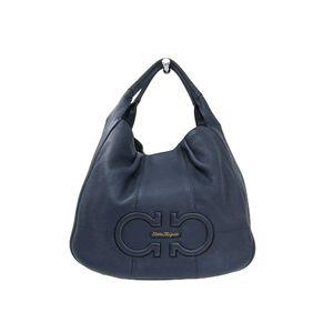 Ferragamo Shoulder Bag Calfskin Leather Navy EE-21 D683