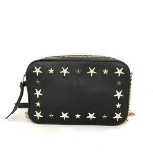 JIMMY CHOO Star Studs Chain Shoulder Bag Ladies Black Leather