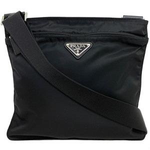 Prada Shoulder Bag Black Pocono 1BH978 Sakosh Nylon Canvas Women's Men's Unisex Silver Hardware Logo