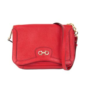 Ferragamo Chain Shoulder Bag Leather Red/Gold AB-21C145