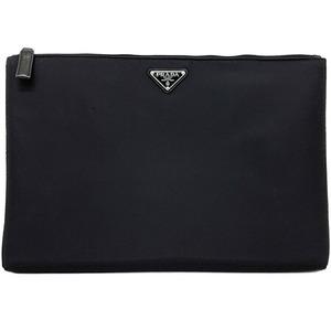 Prada Clutch Bag Black Silver Hardware Pocono 2NG015 Nylon Leather Women's Men's Unisex Logo Large