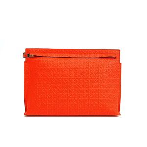 LOEWE T Pouch Repeat Engraved Calf Leather Orange 107.55.K05