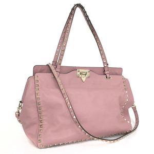 Valentino Shoulder Bag Rockstuds 2WAY Leather Pink Ladies