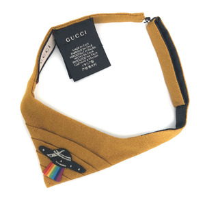 Gucci Tie Courier UFO 47846 4G030 100% Polyester Yellow Men